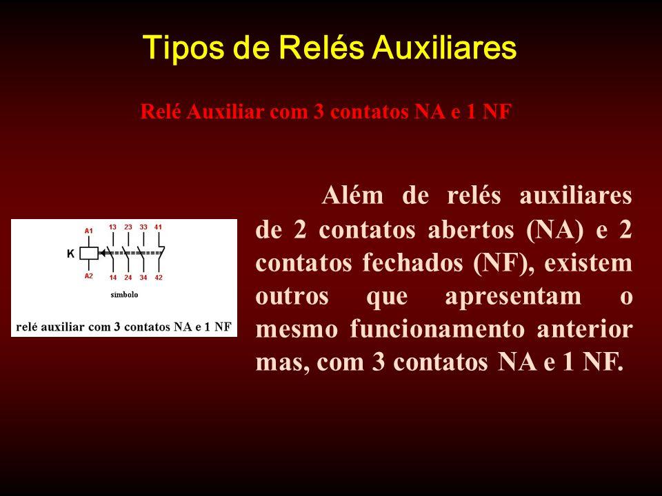 Tipos de Relés Auxiliares Além de relés auxiliares de 2 contatos abertos (NA) e 2 contatos fechados (NF), existem outros que apresentam o mesmo funcionamento anterior mas, com 3 contatos NA e 1 NF.