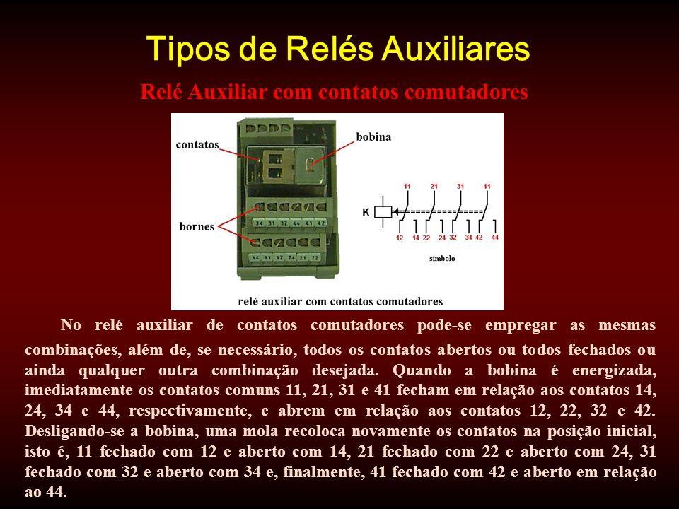 Tipos de Relés Auxiliares No relé auxiliar de contatos comutadores pode-se empregar as mesmas combinações, além de, se necessário, todos os contatos abertos ou todos fechados ou ainda qualquer outra combinação desejada.