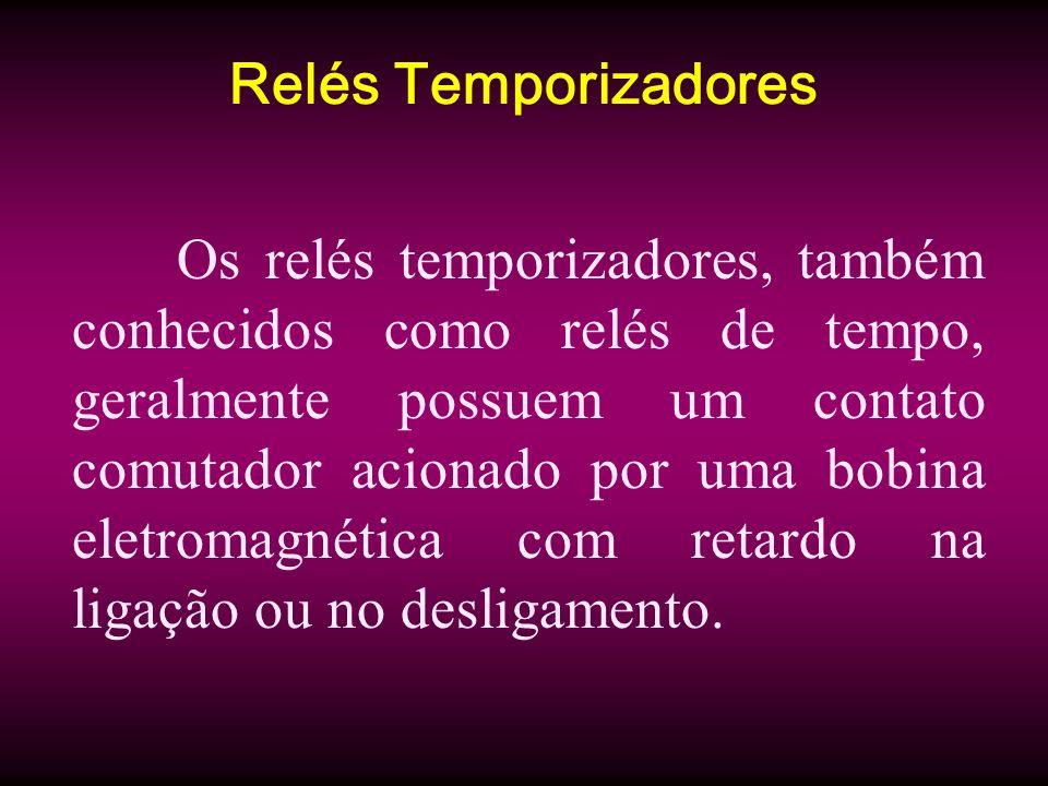 Relés Temporizadores Os relés temporizadores, também conhecidos como relés de tempo, geralmente possuem um contato comutador acionado por uma bobina e