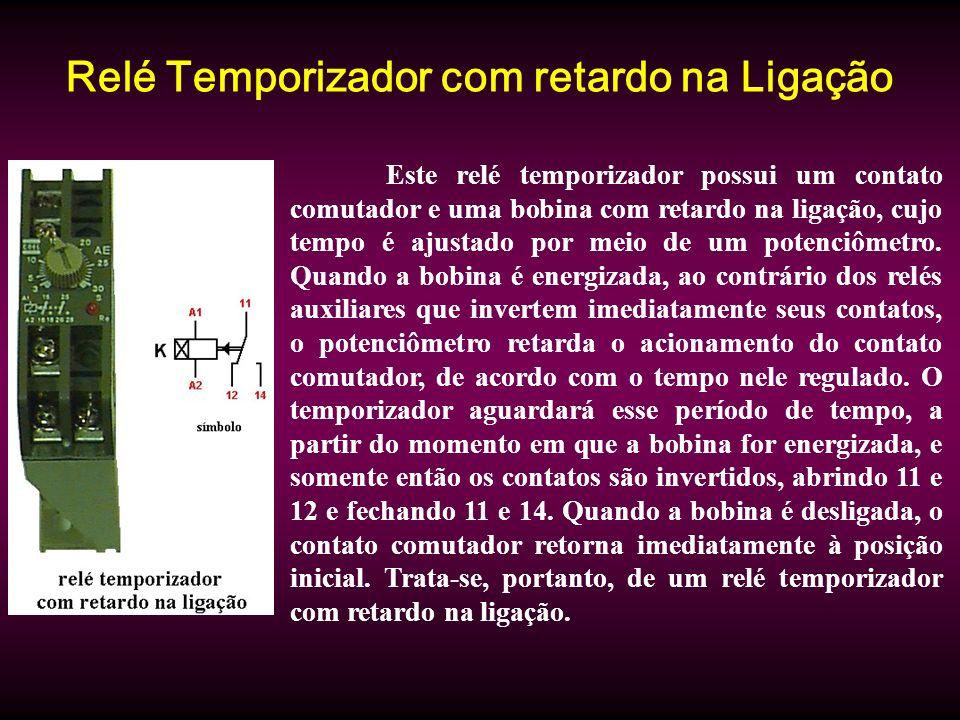 Relé Temporizador com retardo na Ligação Este relé temporizador possui um contato comutador e uma bobina com retardo na ligação, cujo tempo é ajustado