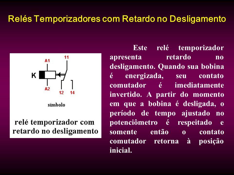 Relés Temporizadores com Retardo no Desligamento Este relé temporizador apresenta retardo no desligamento. Quando sua bobina é energizada, seu contato