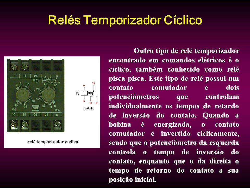 Relés Temporizador Cíclico Outro tipo de relé temporizador encontrado em comandos elétricos é o cíclico, também conhecido como relé pisca-pisca. Este
