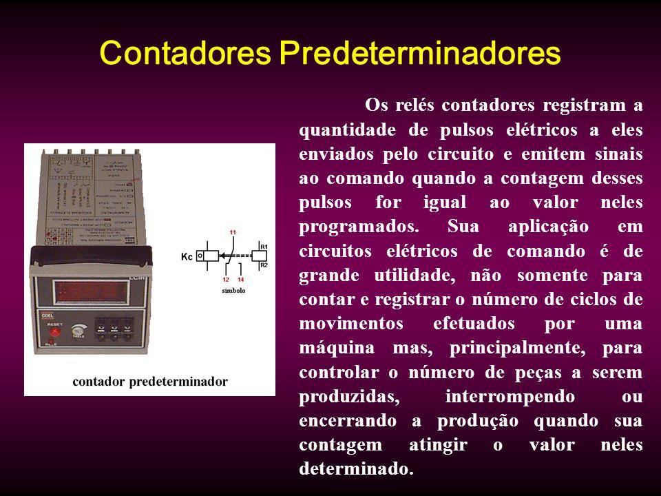 Contadores Predeterminadores Os relés contadores registram a quantidade de pulsos elétricos a eles enviados pelo circuito e emitem sinais ao comando quando a contagem desses pulsos for igual ao valor neles programados.