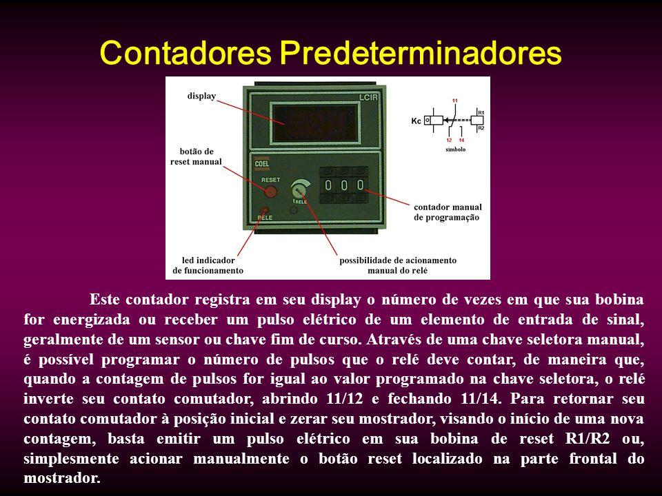 Contadores Predeterminadores Este contador registra em seu display o número de vezes em que sua bobina for energizada ou receber um pulso elétrico de um elemento de entrada de sinal, geralmente de um sensor ou chave fim de curso.