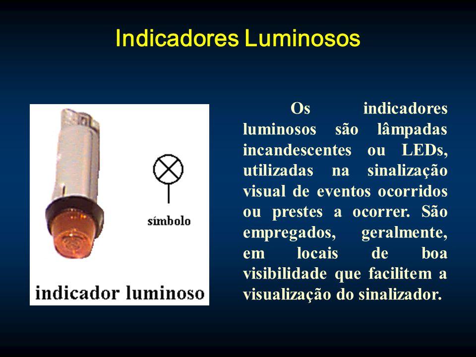 Indicadores Luminosos Os indicadores luminosos são lâmpadas incandescentes ou LEDs, utilizadas na sinalização visual de eventos ocorridos ou prestes a