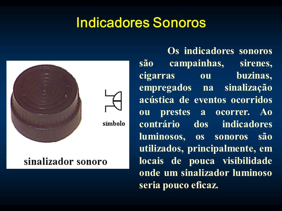 Indicadores Sonoros Os indicadores sonoros são campainhas, sirenes, cigarras ou buzinas, empregados na sinalização acústica de eventos ocorridos ou prestes a ocorrer.
