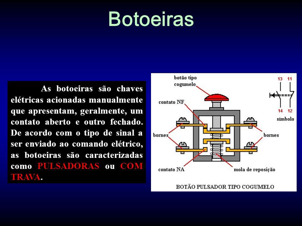 Botoeiras As botoeiras são chaves elétricas acionadas manualmente que apresentam, geralmente, um contato aberto e outro fechado. De acordo com o tipo