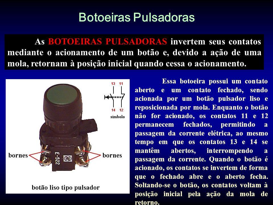 Botoeiras com Trava As botoeiras com trava também invertem seus contatos mediante o acionamento de um botão, entretanto, ao contrário das botoeiras pulsadoras, permanecem acionadas e travadas mesmo depois de cessado o acionamento.