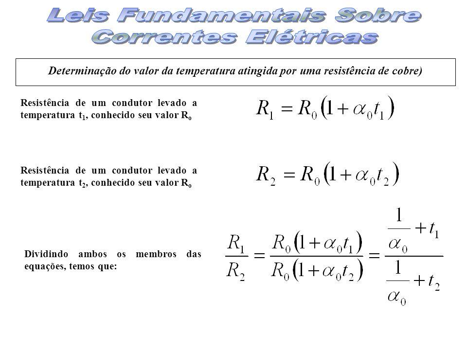 Determinação do valor da temperatura atingida por uma resistência de cobre) Resistência de um condutor levado a temperatura t 1, conhecido seu valor R