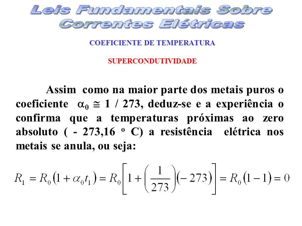COEFICIENTE DE TEMPERATURA SUPERCONDUTIVIDADE Assim como na maior parte dos metais puros o coeficiente 0 1 / 273, deduz-se e a experiência o confirma