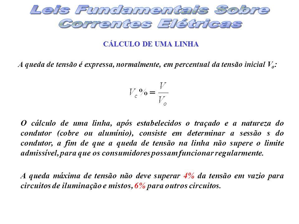 A queda de tensão é expressa, normalmente, em percentual da tensão inicial V o : O cálculo de uma linha, após estabelecidos o traçado e a natureza do