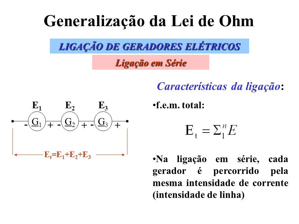 Generalização da Lei de Ohm Características da ligação: f.e.m. total: Na ligação em série, cada gerador é percorrido pela mesma intensidade de corrent