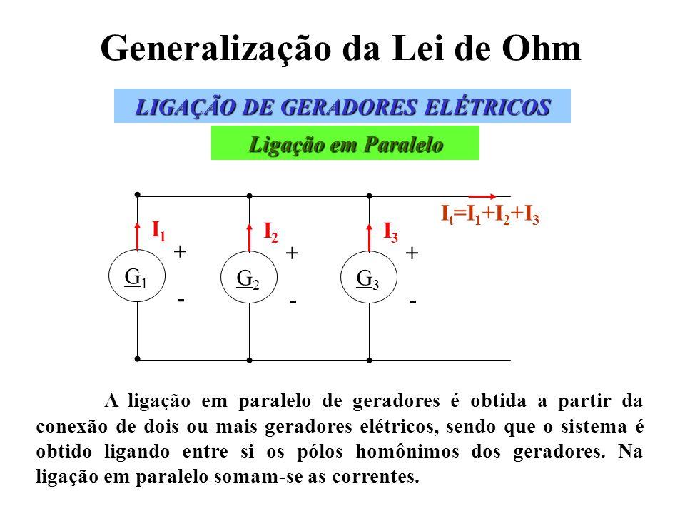 Generalização da Lei de Ohm A ligação em paralelo de geradores é obtida a partir da conexão de dois ou mais geradores elétricos, sendo que o sistema é