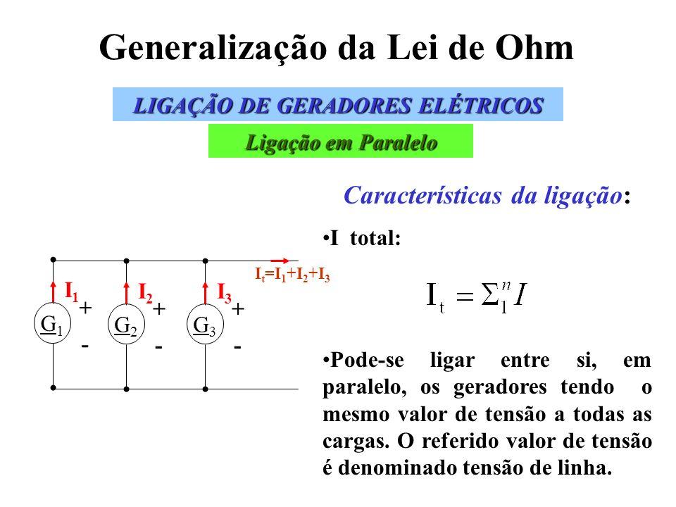 Generalização da Lei de Ohm LIGAÇÃO DE GERADORES ELÉTRICOS Ligação em Paralelo Características da ligação: I total: Pode-se ligar entre si, em paralel