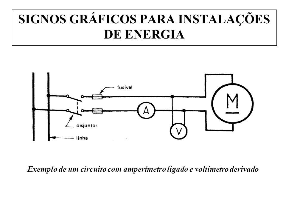 Exemplo de um circuito com amperímetro ligado e voltímetro derivado