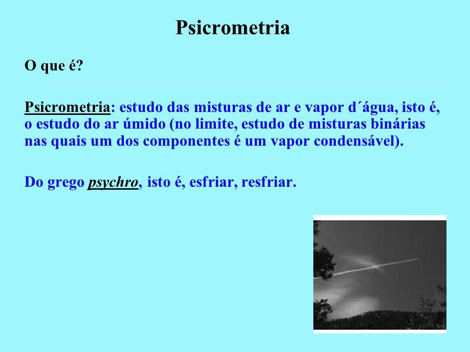 Psicrometria O que é? Psicrometria: estudo das misturas de ar e vapor d´água, isto é, o estudo do ar úmido (no limite, estudo de misturas binárias nas