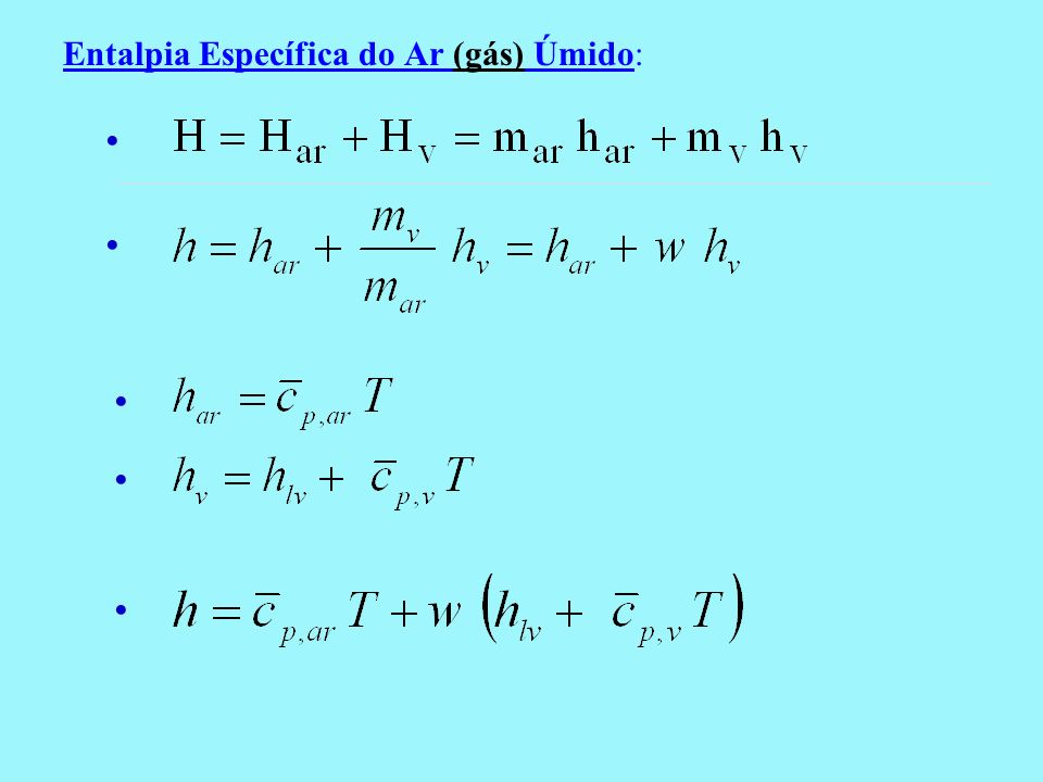 Entalpia Específica do Ar (gás) Úmido: