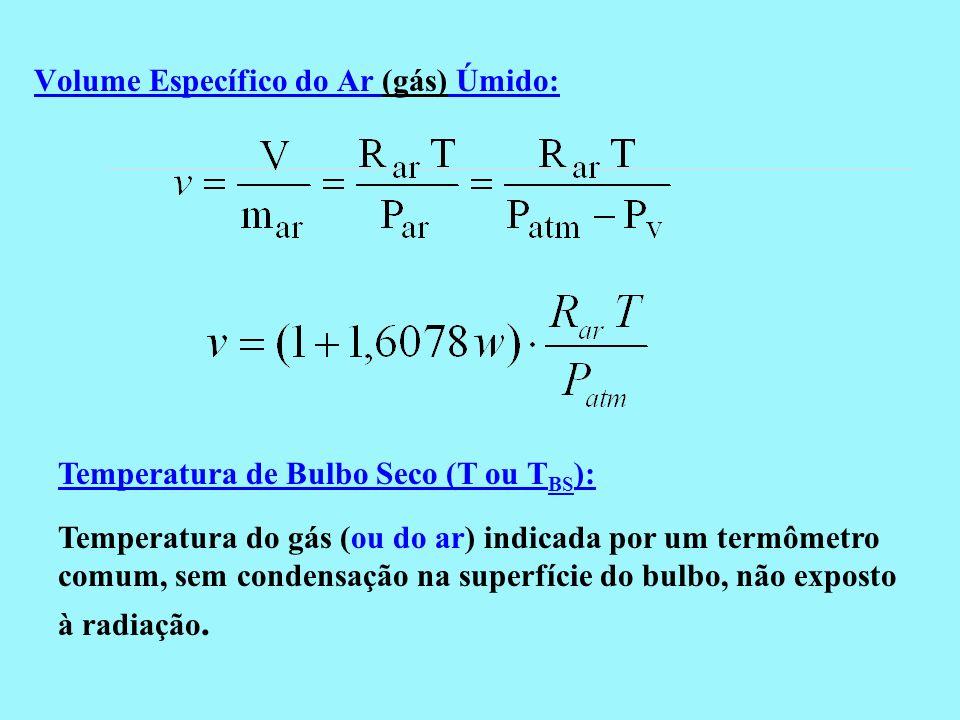 Volume Específico do Ar (gás) Úmido: Temperatura do gás (ou do ar) indicada por um termômetro comum, sem condensação na superfície do bulbo, não expos