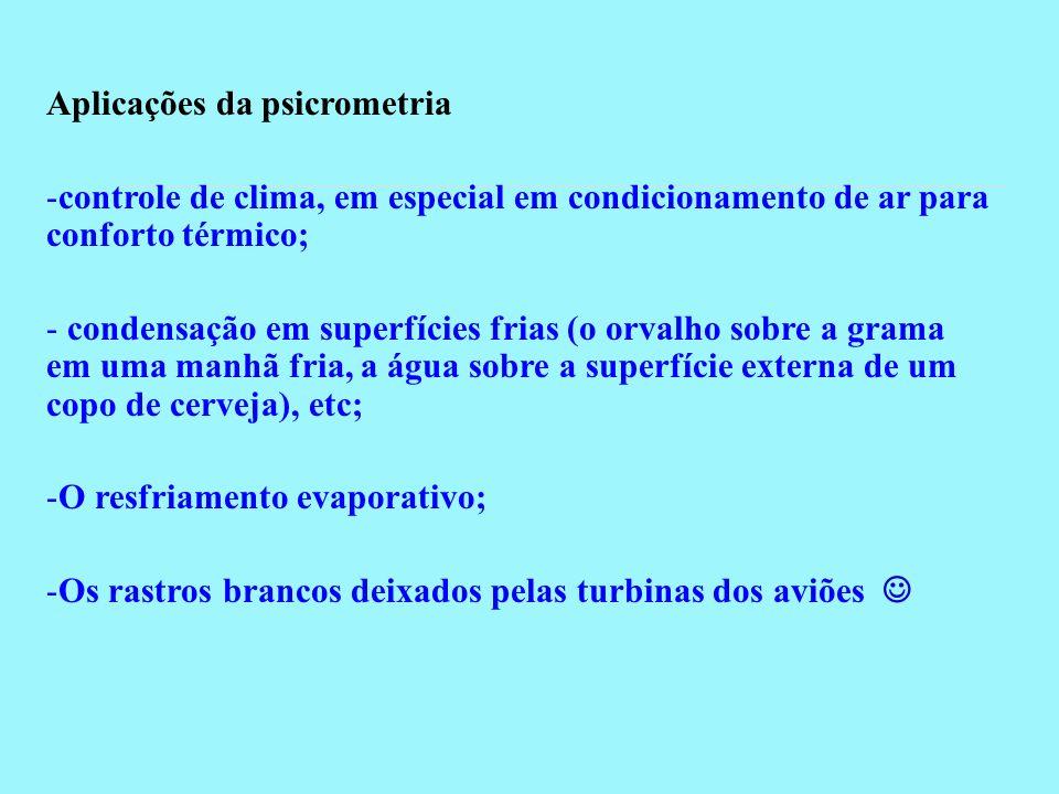 Fator de desvio (by-pass coefficient): Transformações Psicrométricas Resfriamento e Desumidificação com desvio: