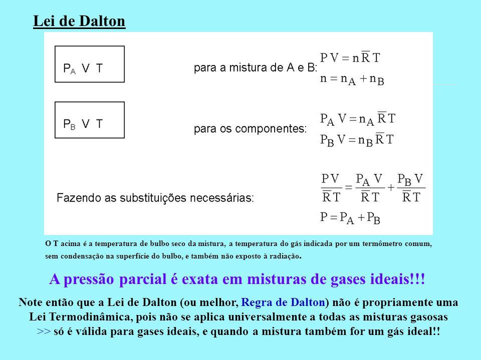 Lei de Dalton A pressão parcial é exata em misturas de gases ideais!!! Note então que a Lei de Dalton (ou melhor, Regra de Dalton) não é propriamente