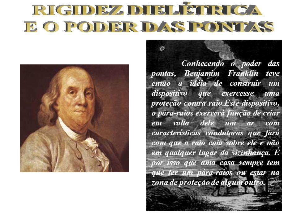 Conhecendo o poder das pontas, Benjamim Franklin teve então a idéia de construir um dispositivo que exercesse uma proteção contra raio.Este dispositiv