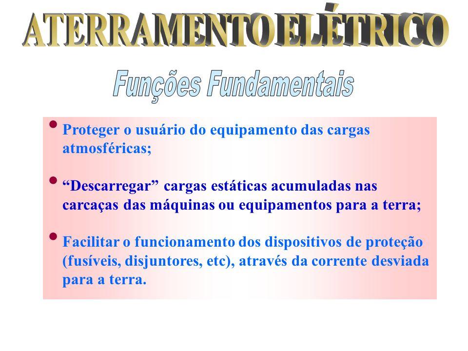 Proteger o usuário do equipamento das cargas atmosféricas; Descarregar cargas estáticas acumuladas nas carcaças das máquinas ou equipamentos para a te