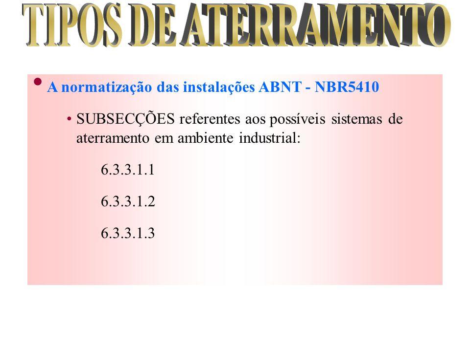 A normatização das instalações ABNT - NBR5410 SUBSECÇÕES referentes aos possíveis sistemas de aterramento em ambiente industrial: 6.3.3.1.1 6.3.3.1.2