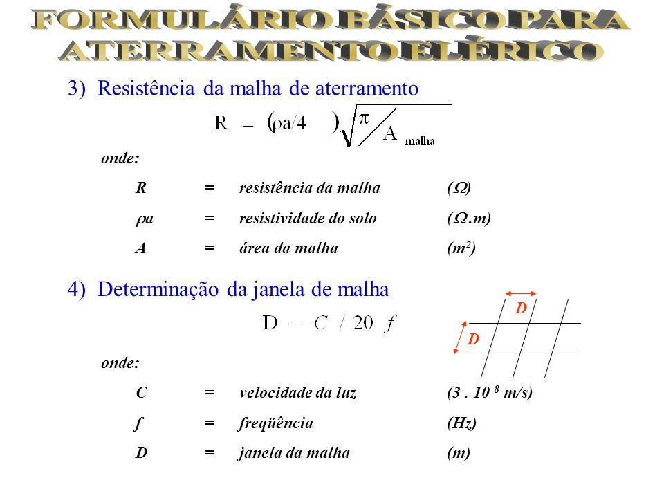 3) Resistência da malha de aterramento 4) Determinação da janela de malha onde: R= resistência da malha ( ) a= resistividade do solo (.m) A= área da m