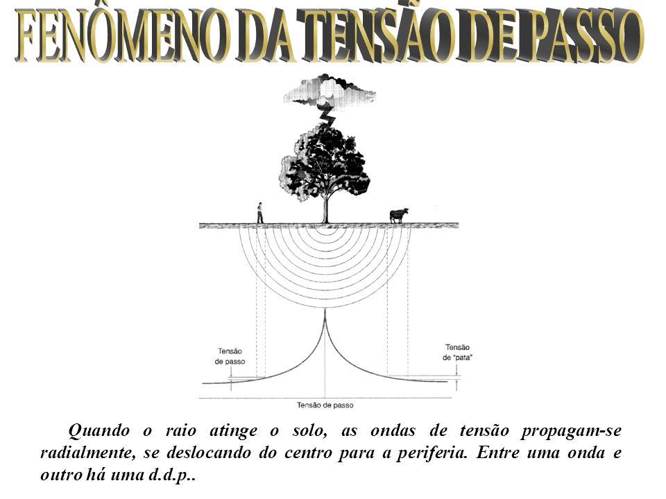 Quando o raio atinge o solo, as ondas de tensão propagam-se radialmente, se deslocando do centro para a periferia. Entre uma onda e outro há uma d.d.p