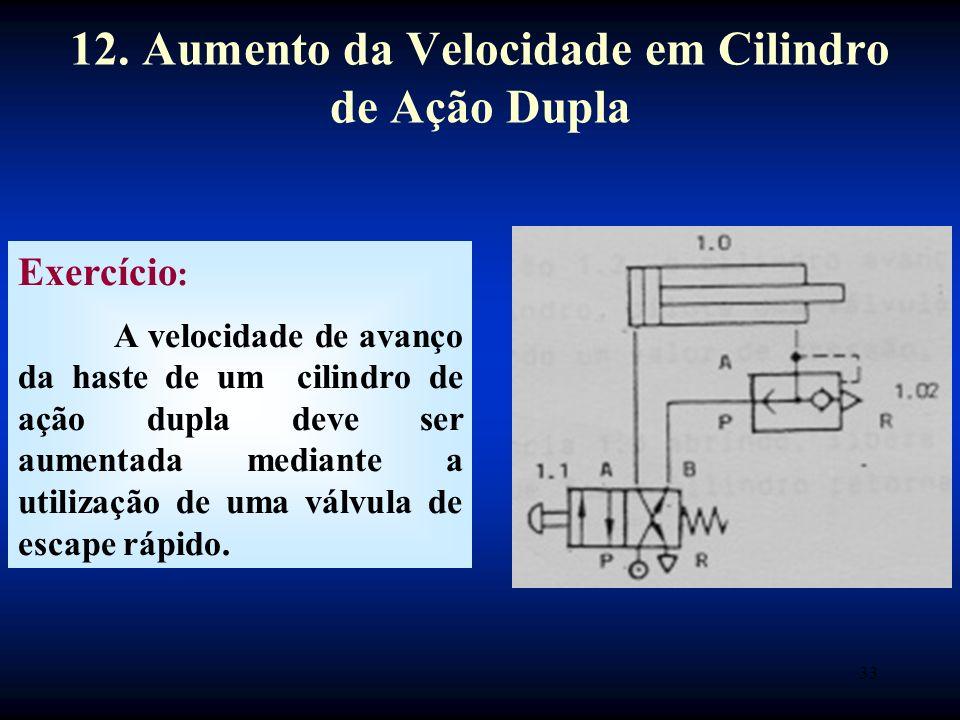 33 Exercício : A velocidade de avanço da haste de um cilindro de ação dupla deve ser aumentada mediante a utilização de uma válvula de escape rápido.