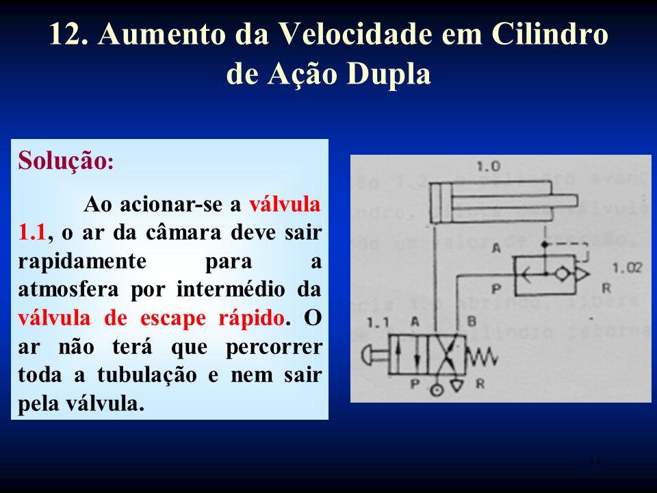 34 Solução : Ao acionar-se a válvula 1.1, o ar da câmara deve sair rapidamente para a atmosfera por intermédio da válvula de escape rápido.