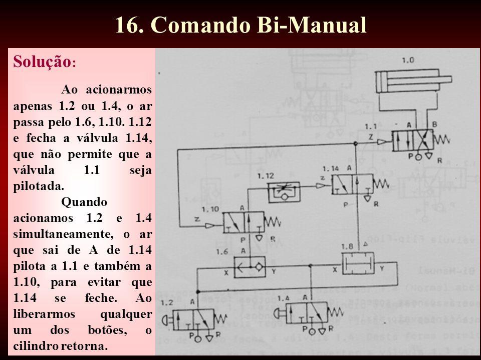 42 Solução : Ao acionarmos apenas 1.2 ou 1.4, o ar passa pelo 1.6, 1.10.