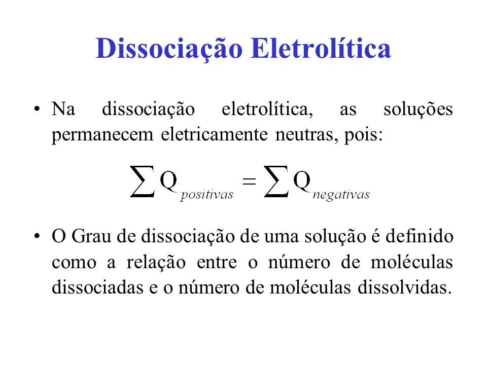 Dissociação Eletrolítica Na dissociação eletrolítica, as soluções permanecem eletricamente neutras, pois: O Grau de dissociação de uma solução é defin