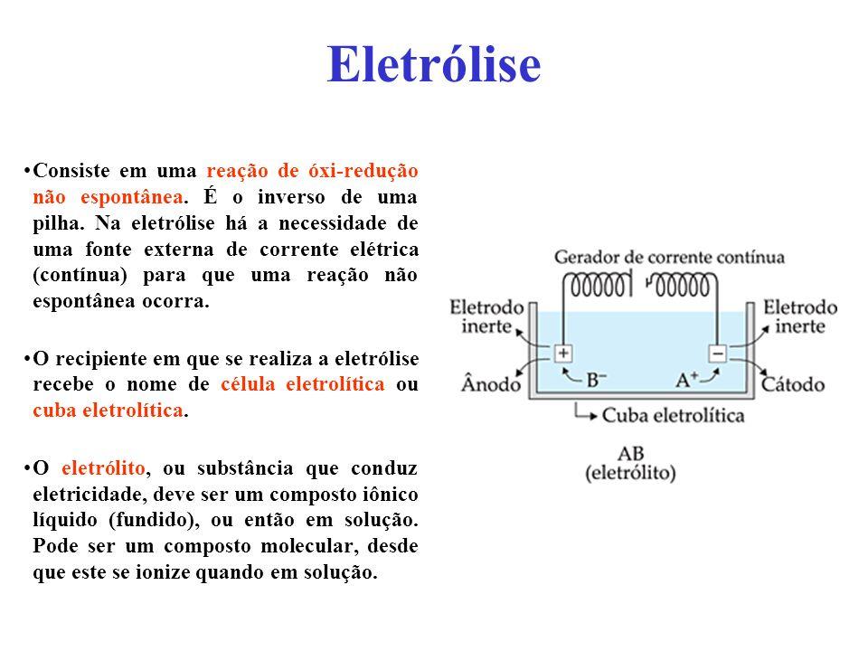 Eletrólise Consiste em uma reação de óxi-redução não espontânea. É o inverso de uma pilha. Na eletrólise há a necessidade de uma fonte externa de corr