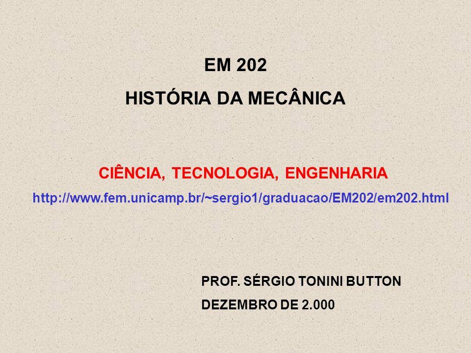 EM 202 HISTÓRIA DA MECÂNICA PROF. SÉRGIO TONINI BUTTON DEZEMBRO DE 2.000 CIÊNCIA, TECNOLOGIA, ENGENHARIA http://www.fem.unicamp.br/~sergio1/graduacao/