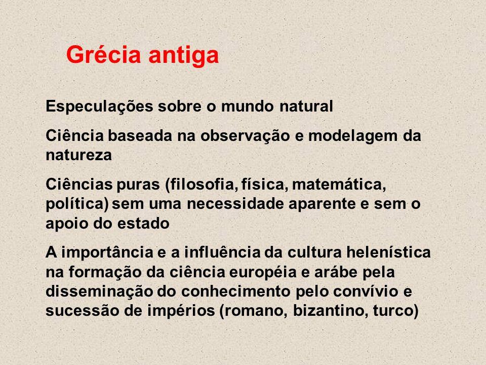 Grécia antiga Especulações sobre o mundo natural Ciência baseada na observação e modelagem da natureza Ciências puras (filosofia, física, matemática,