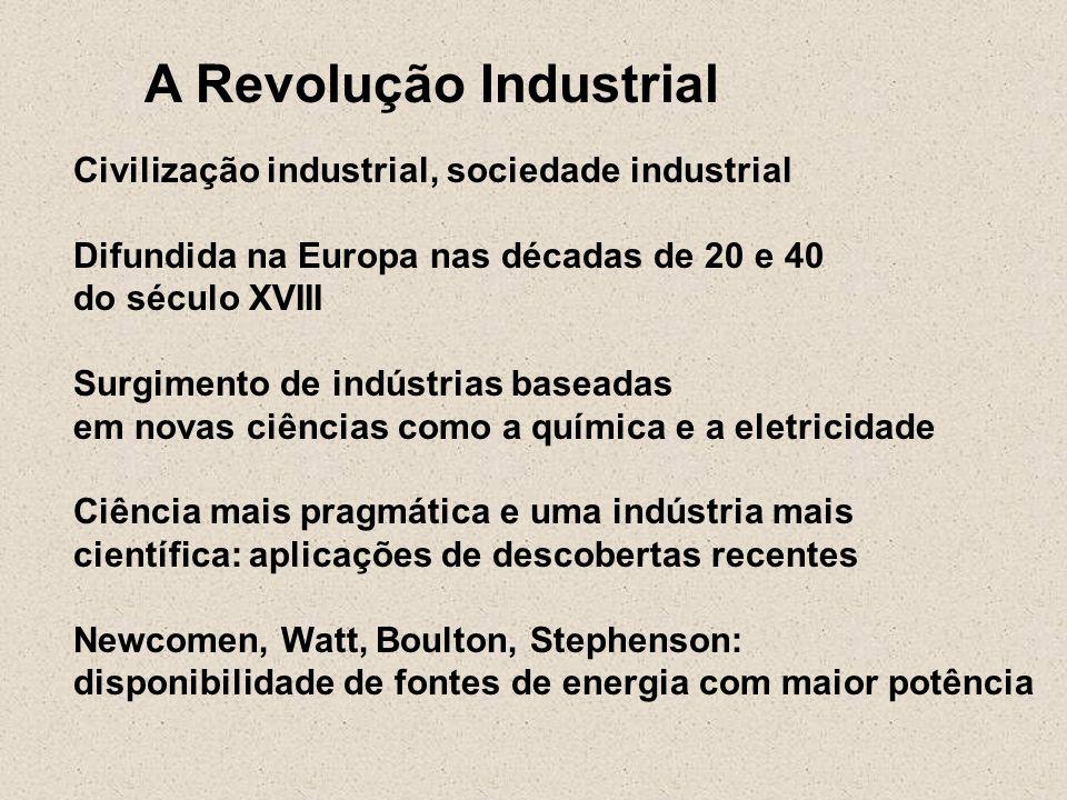 A Revolução Industrial Civilização industrial, sociedade industrial Difundida na Europa nas décadas de 20 e 40 do século XVIII Surgimento de indústria