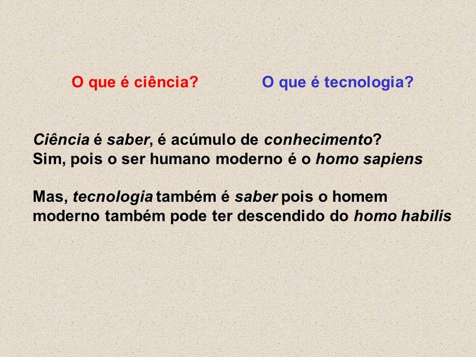O que é ciência?O que é tecnologia? Ciência é saber, é acúmulo de conhecimento? Sim, pois o ser humano moderno é o homo sapiens Mas, tecnologia também