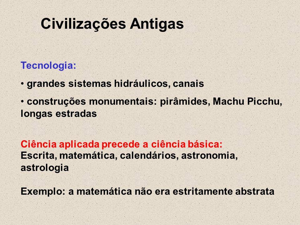 Civilizações Antigas Tecnologia: grandes sistemas hidráulicos, canais construções monumentais: pirâmides, Machu Picchu, longas estradas Ciência aplica