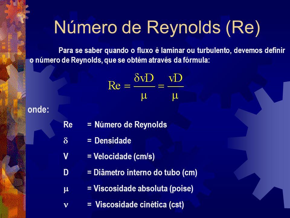 Número de Reynolds (Re) Para se saber quando o fluxo é laminar ou turbulento, devemos definir o número de Reynolds, que se obtém através da fórmula: onde: Re = Número de Reynolds = Densidade V= Velocidade (cm/s) D = Diâmetro interno do tubo (cm) = Viscosidade absoluta (poise) = Viscosidade cinética (cst)