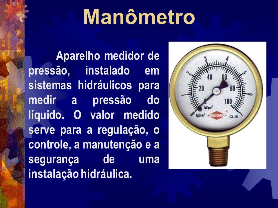 Manômetro Aparelho medidor de pressão, instalado em sistemas hidráulicos para medir a pressão do líquido.