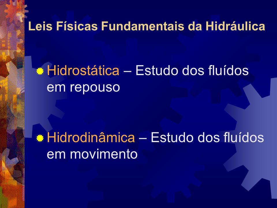 Leis Físicas Fundamentais da Hidráulica Hidrostática – Estudo dos fluídos em repouso Hidrodinâmica – Estudo dos fluídos em movimento