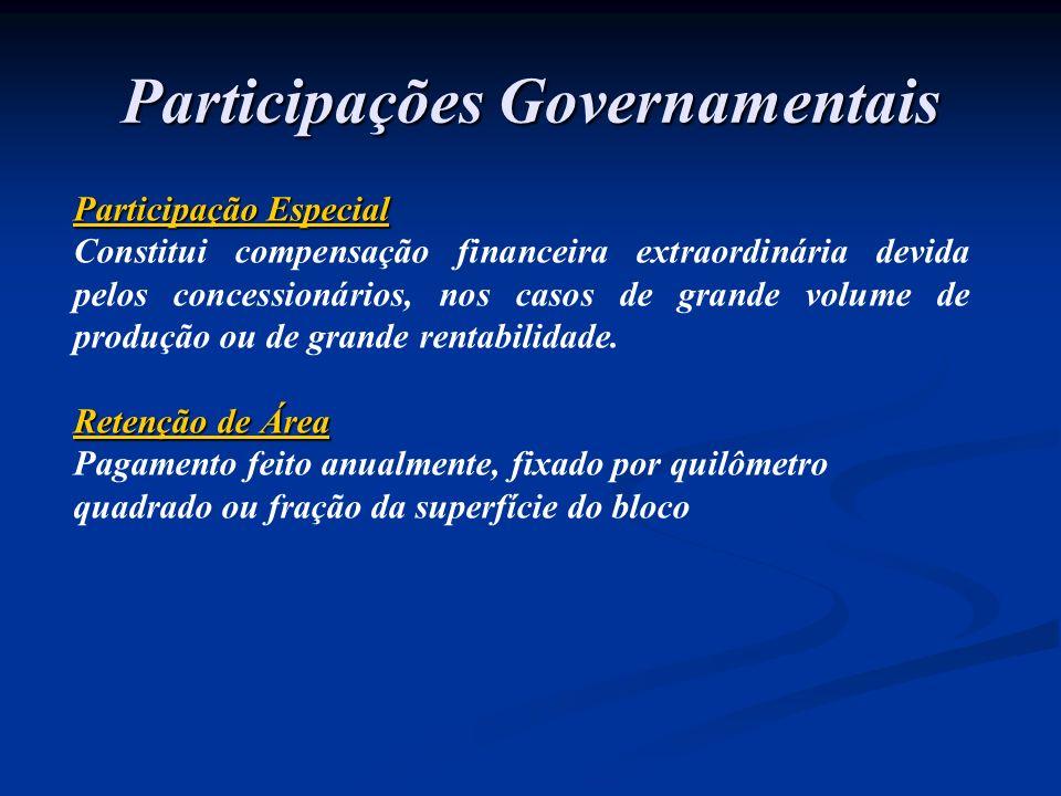 Participação Especial Constitui compensação financeira extraordinária devida pelos concessionários, nos casos de grande volume de produção ou de grand