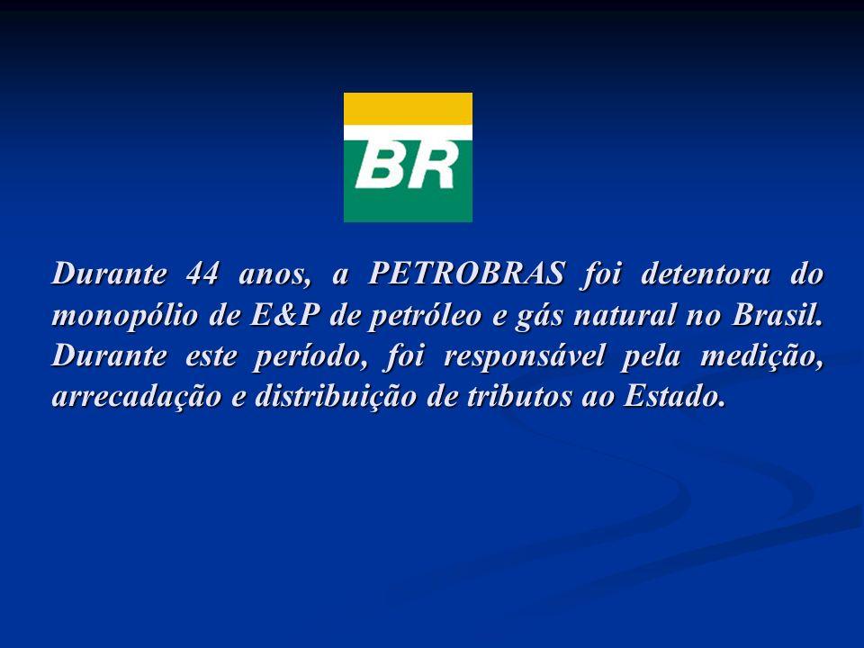 Durante 44 anos, a PETROBRAS foi detentora do monopólio de E&P de petróleo e gás natural no Brasil. Durante este período, foi responsável pela medição