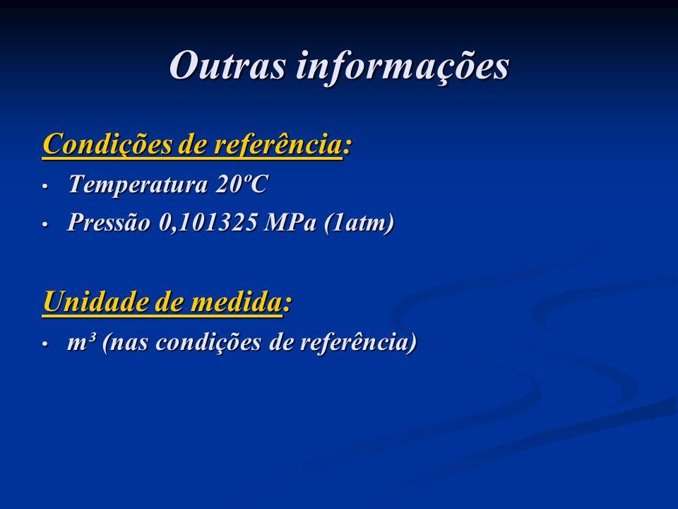 Outras informações Condições de referência: Temperatura 20ºC Temperatura 20ºC Pressão 0,101325 MPa (1atm) Pressão 0,101325 MPa (1atm) Unidade de medid