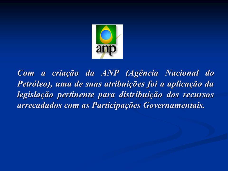 Com a criação da ANP (Agência Nacional do Petróleo), uma de suas atribuições foi a aplicação da legislação pertinente para distribuição dos recursos a