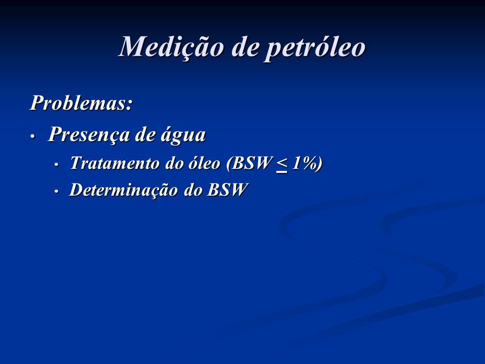 Medição de petróleo Problemas: Presença de água Presença de água Tratamento do óleo (BSW < 1%) Tratamento do óleo (BSW < 1%) Determinação do BSW Deter