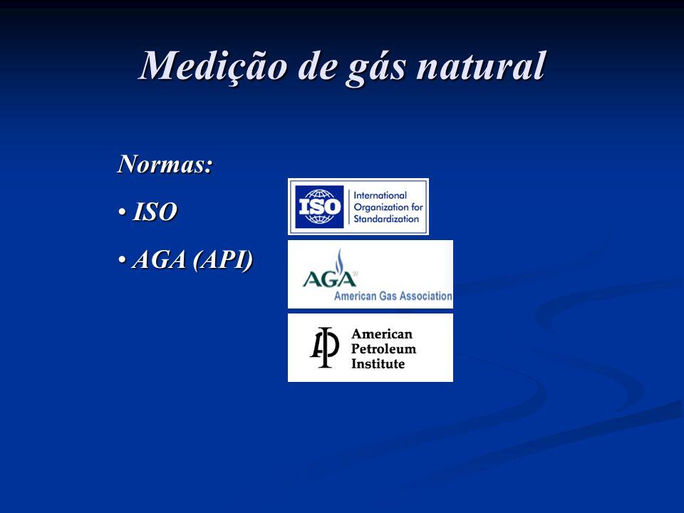 Medição de gás natural Normas: ISO ISO AGA (API) AGA (API)