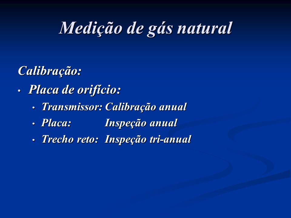 Medição de gás natural Calibração: Placa de orifício: Placa de orifício: Transmissor:Calibração anual Transmissor:Calibração anual Placa: Inspeção anu