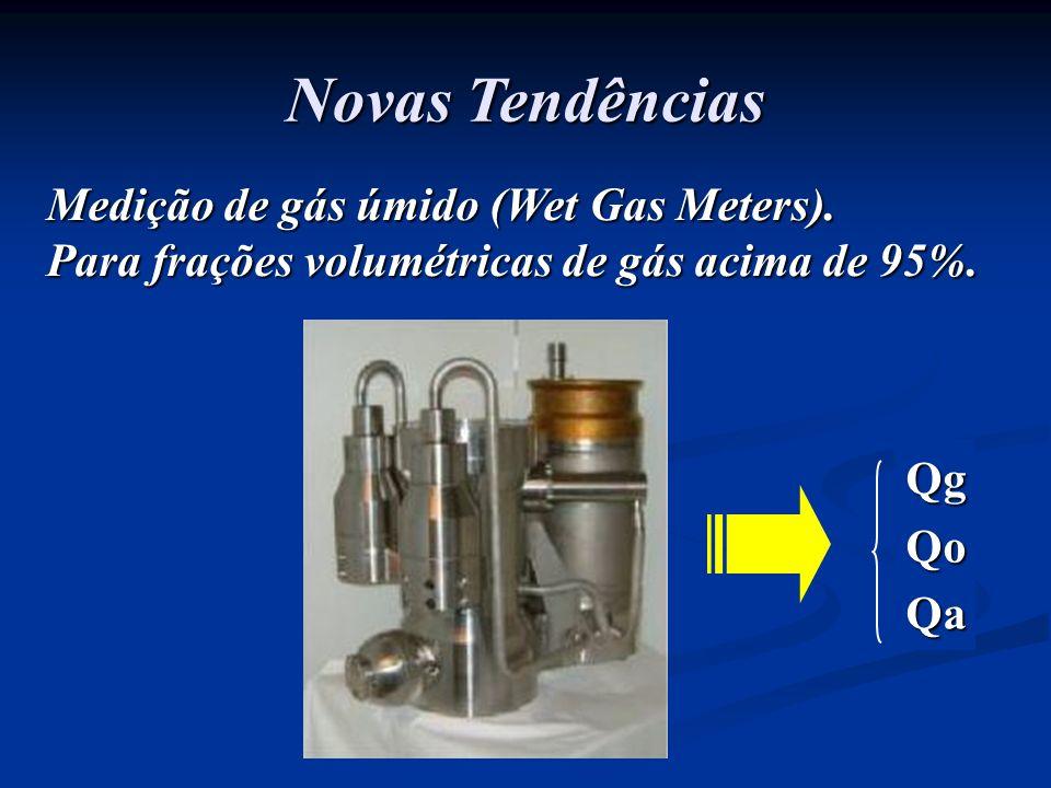 Novas Tendências Medição de gás úmido (Wet Gas Meters). Para frações volumétricas de gás acima de 95%. QgQoQa
